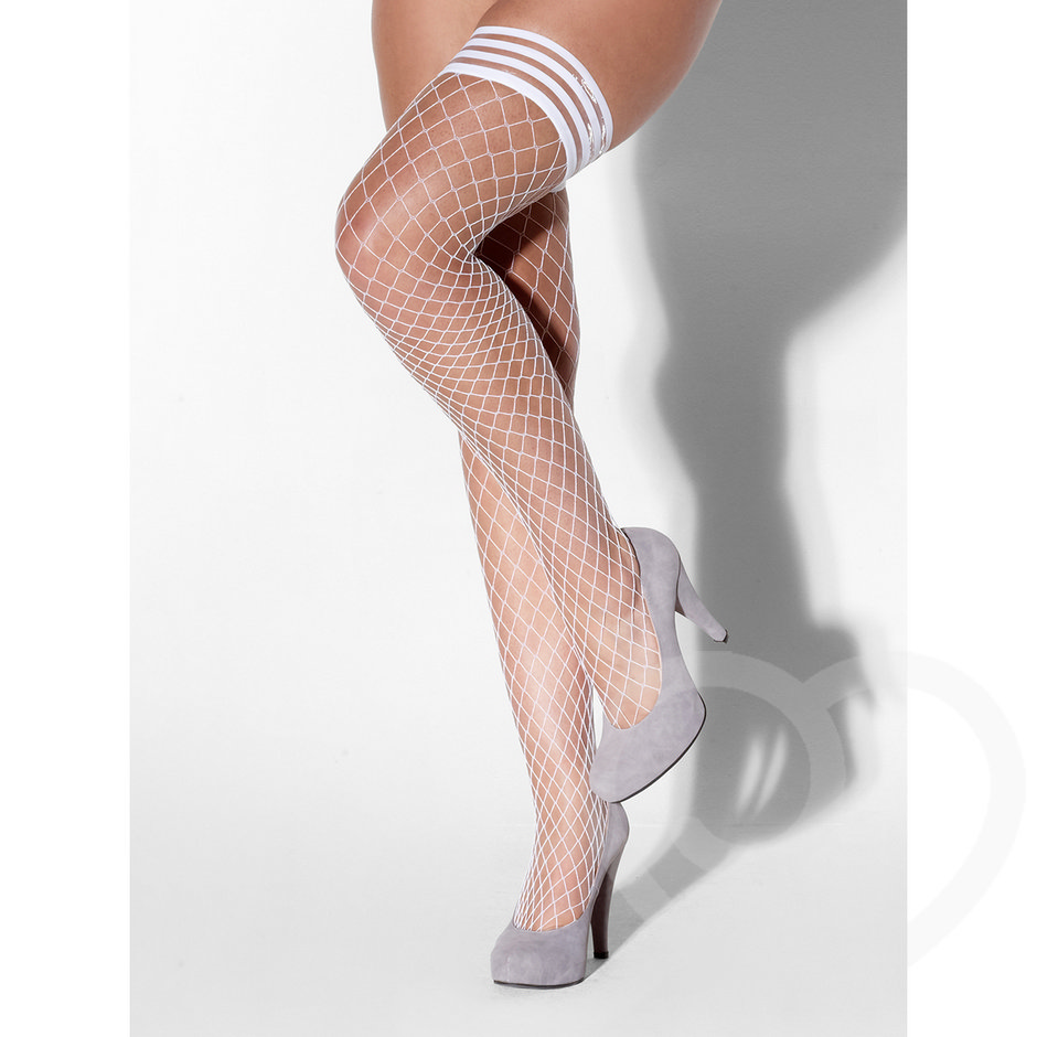 Kiss Me Diamond Fishnet Hold Up Stockings with Striped Tops