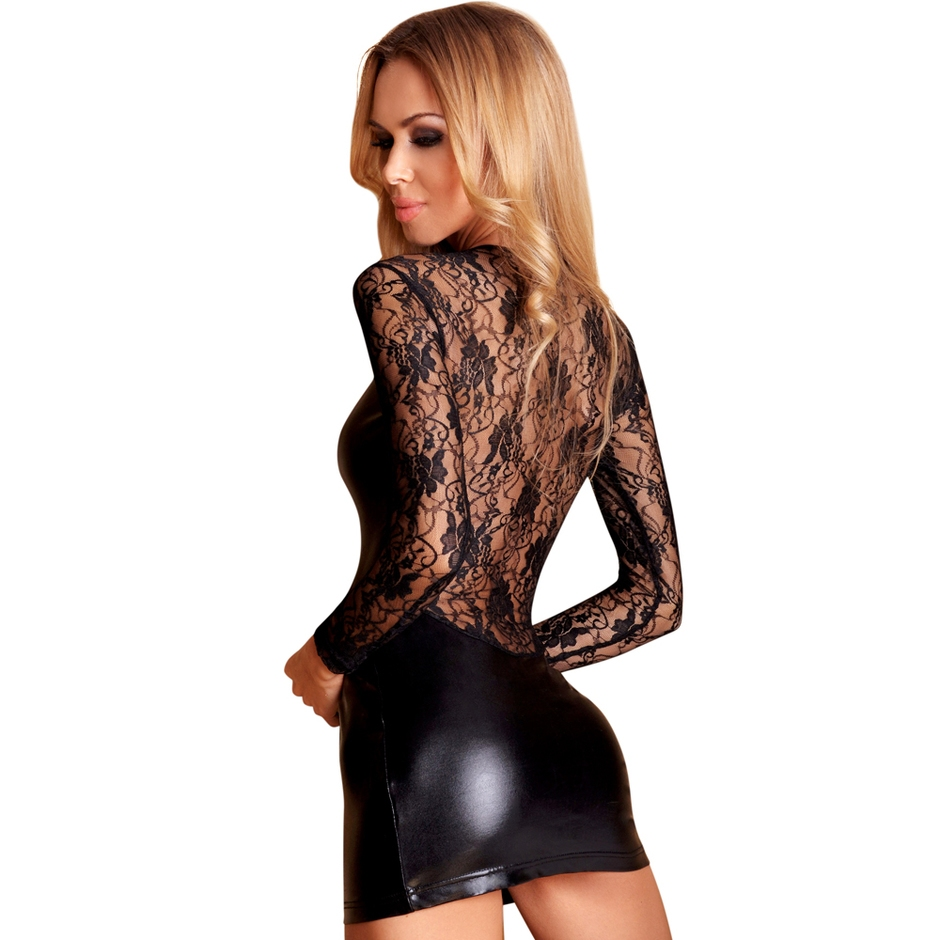 7heaven Long Sleeve Wet Look and Lace Mini Dress