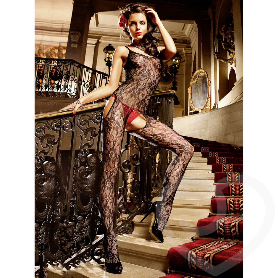 Baci Lingerie Flower Lace Peek-a-Boo Bodystocking