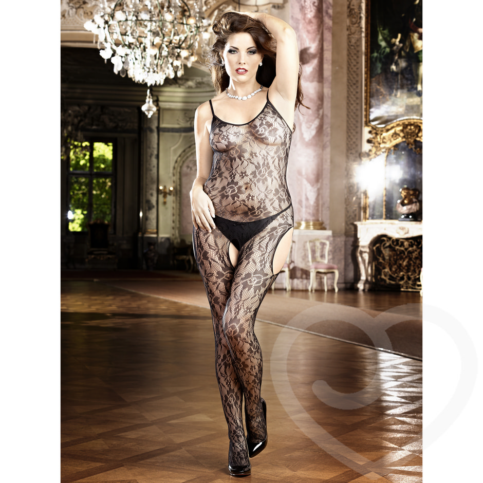 Baci Lingerie Plus Size Flower Lace Peek-a-Boo Bodystocking