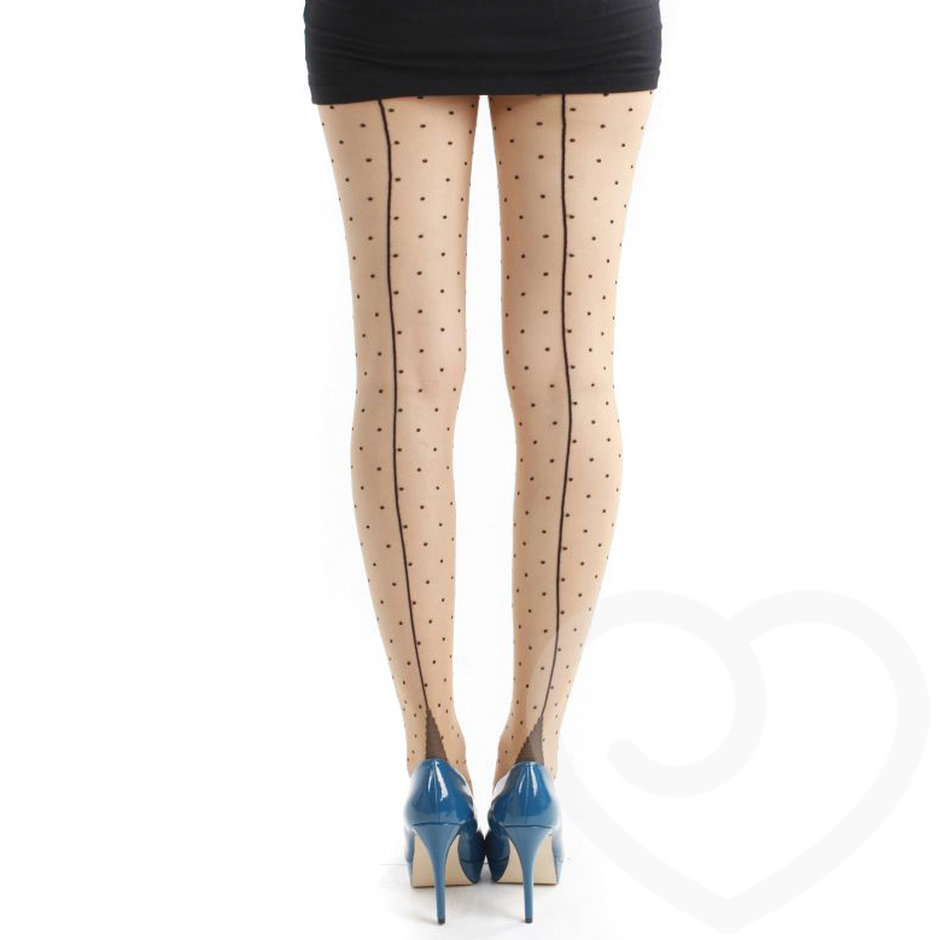 Pamela Mann Polka Dot Tights with Back Seam