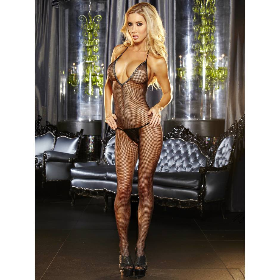 Lapdance Plunging Fishnet Crotchless Bodystocking