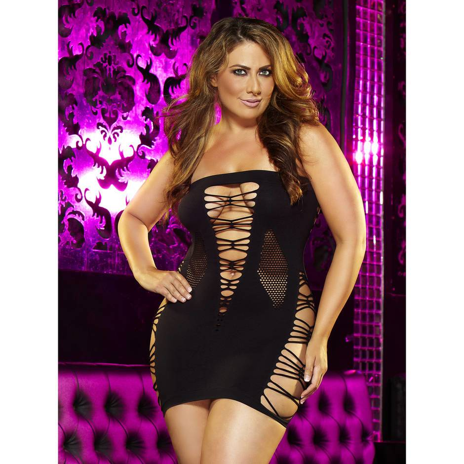 Lapdance Backroom Plus Size Cut Out Mini Dress