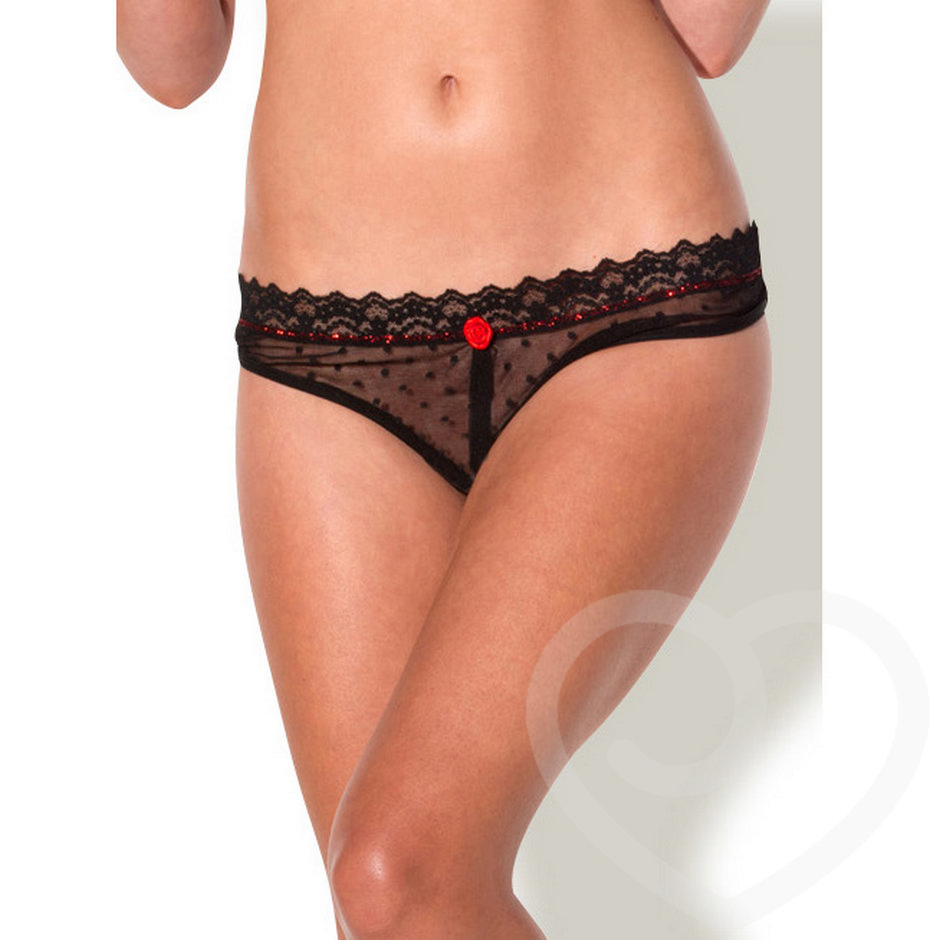 Kiss Me Sheer Crotchless Thong with Satin Rose