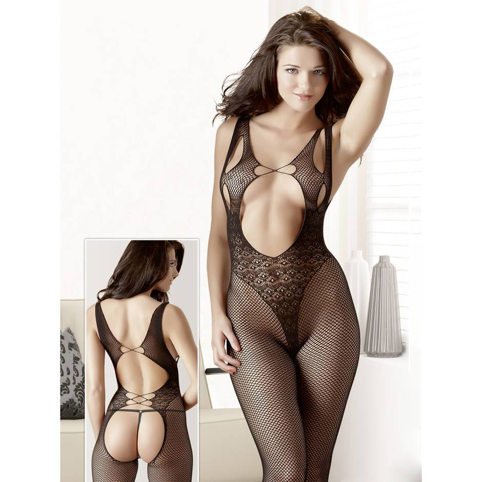 Mandy Mystery Lace Open Back Crotchless Bodystocking