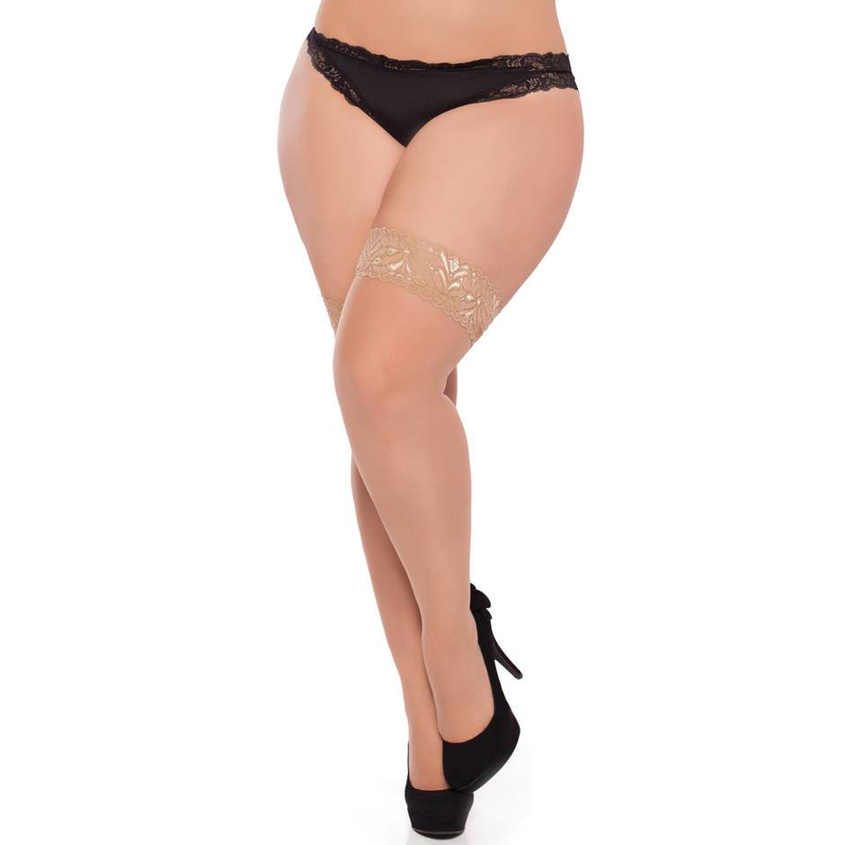Seven 'til Midnight Plus Size Sheer Lace Top Thigh High Stockings