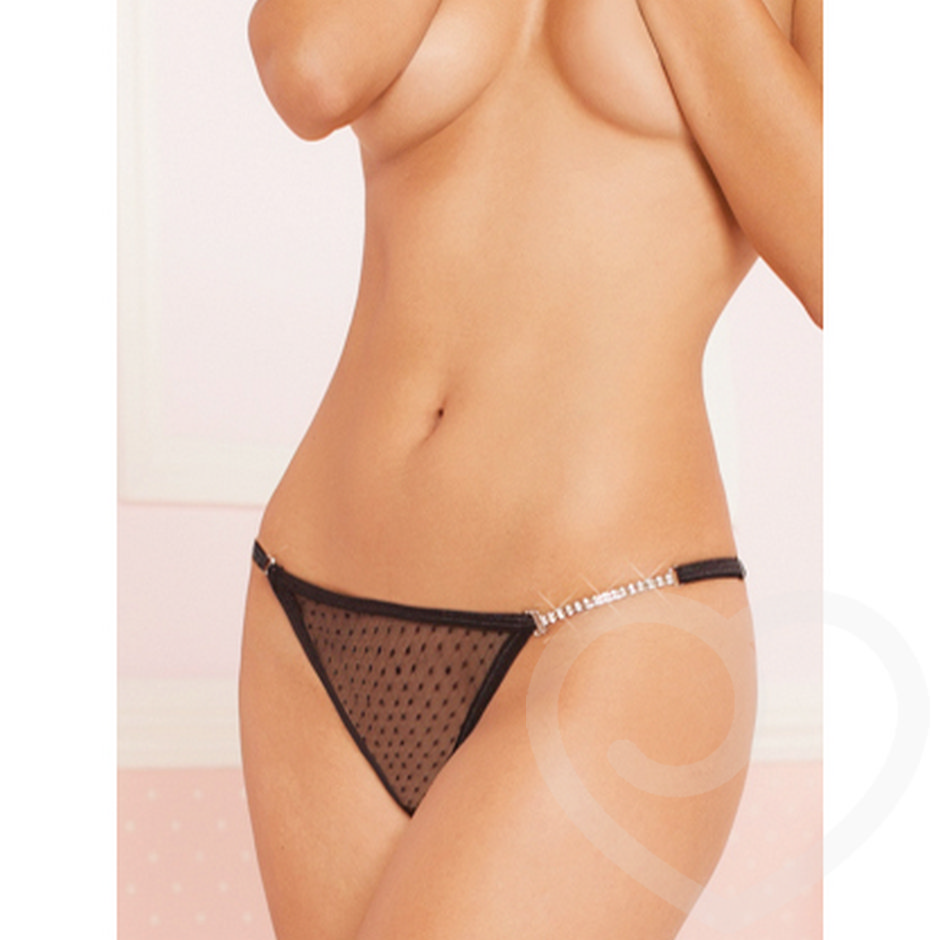 Seven til Midnight Sheer Thong with Rhinestone Detail