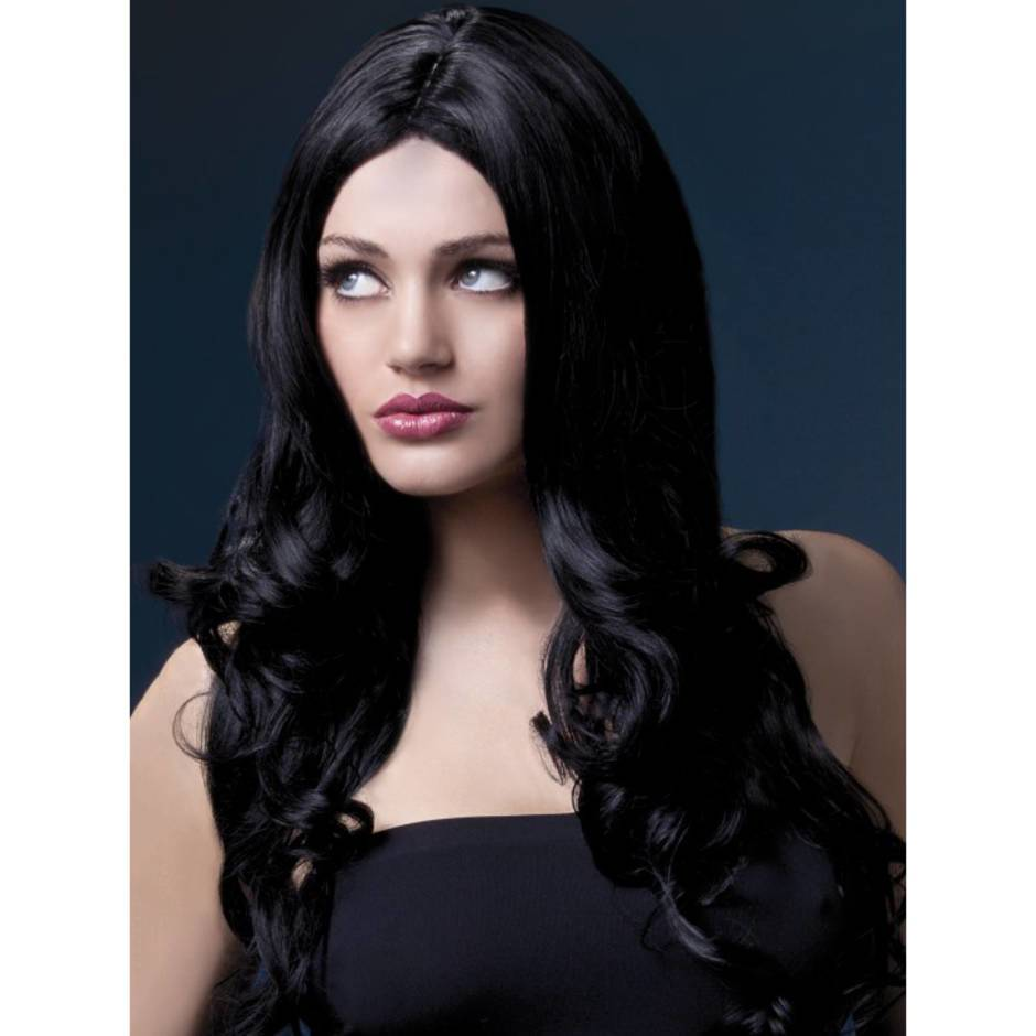 Fever Rhianne 26 Inch Long Black Soft Curl Wig with Center Parting
