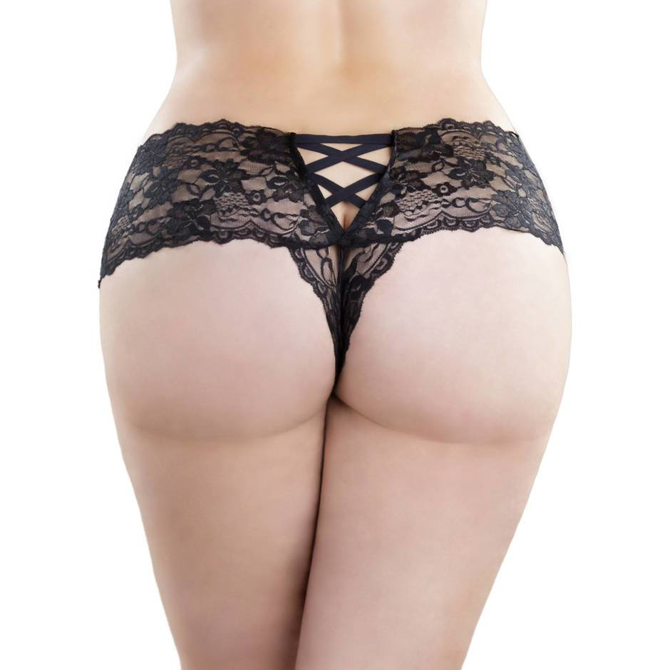 Oh La La Cheri Curves Plus Size Lace Crotchless Knickers