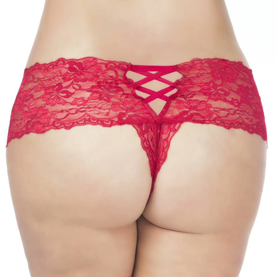 Oh La La Cheri Curves Plus Size Floral Lace Crotchless French Panties