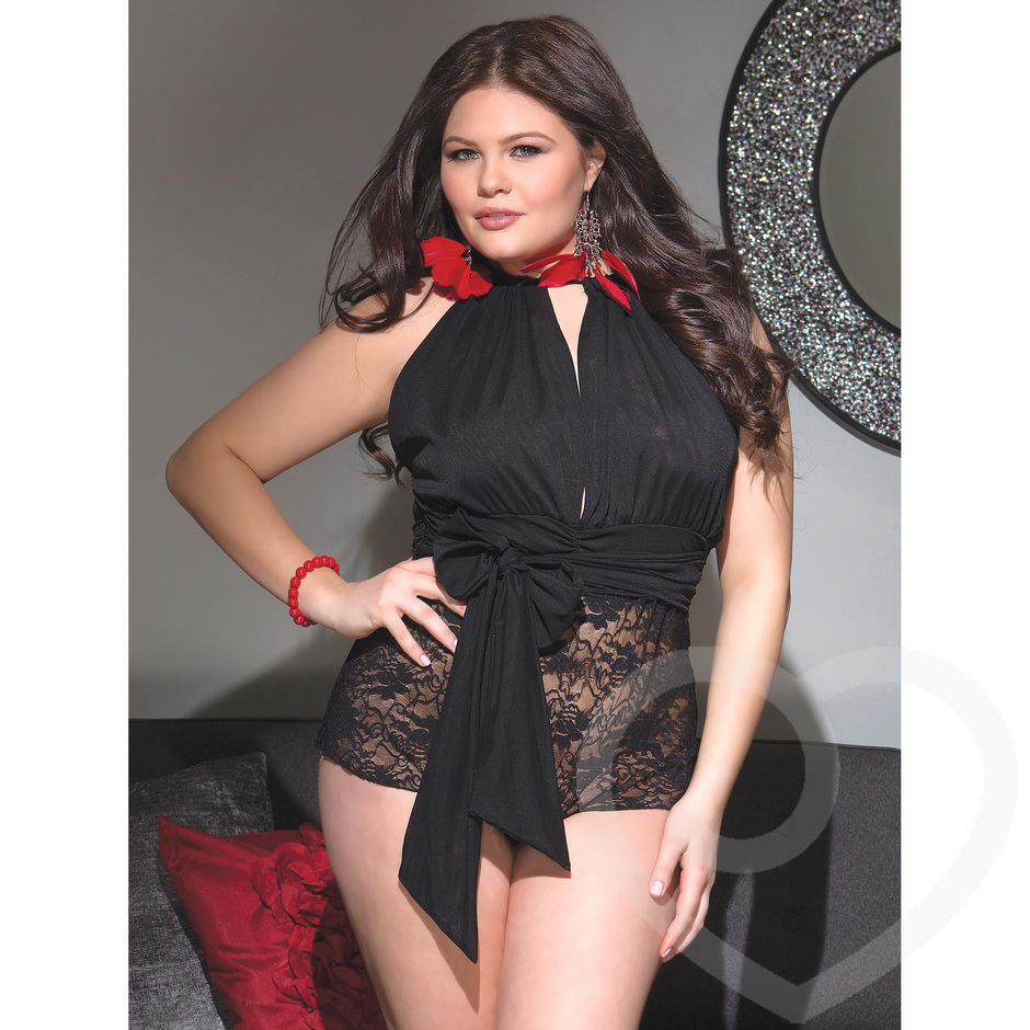 Coquette Plus Size Sheer Lace Halter Neck Teddy