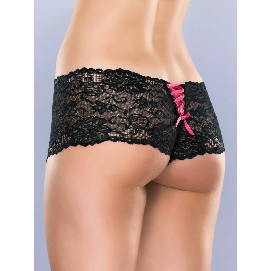 Lovehoney Crotchless Black Lace Shorts