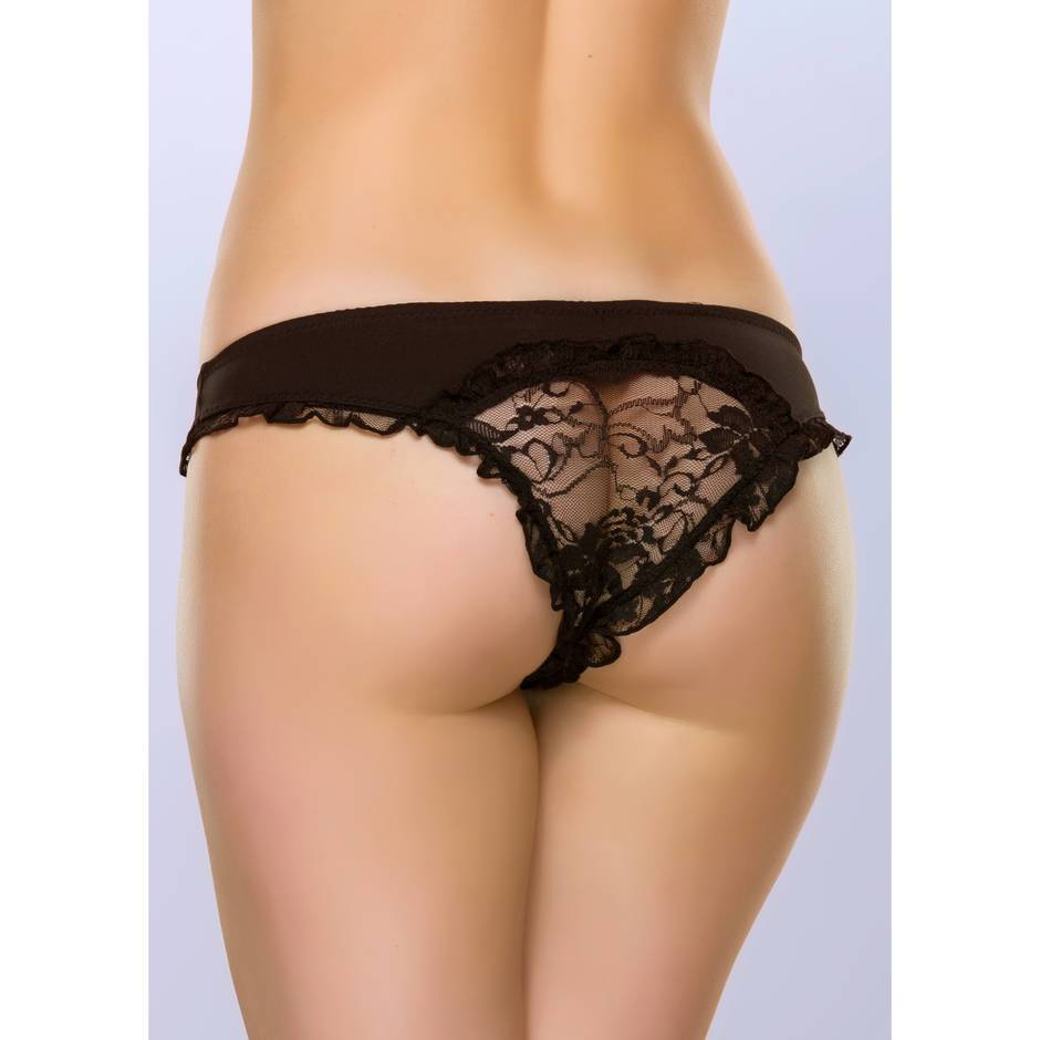 Lovehoney Crotchless Cut-Out Black Lace Back Knickers