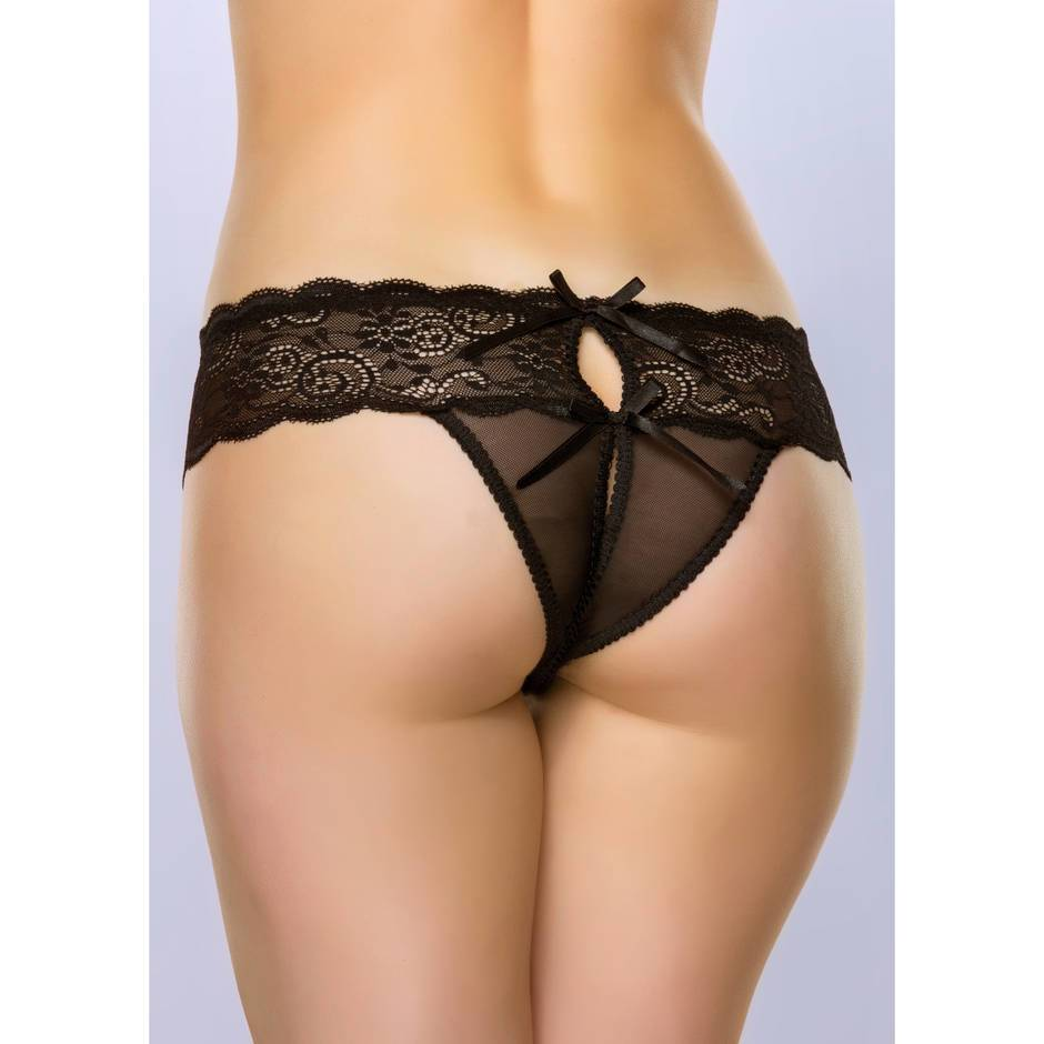 Lovehoney Bow Detail Crotchless Lace Thong