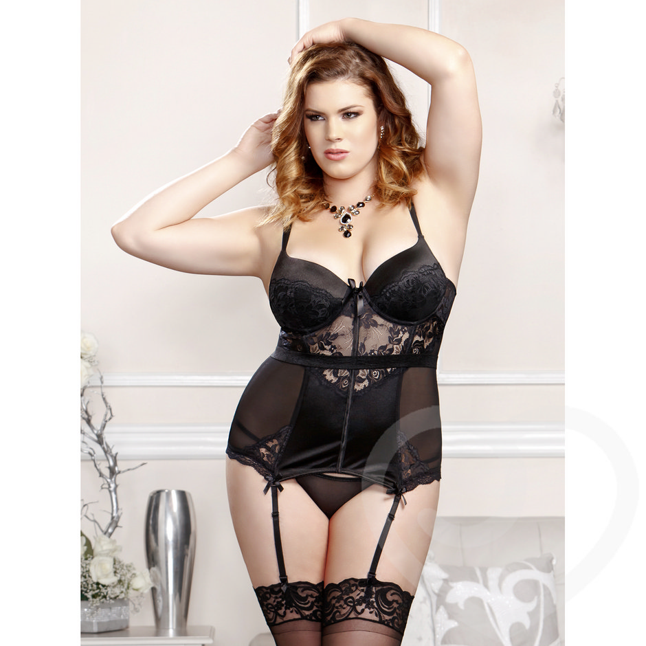 iCollection Plus Size Sheer Lace Bustier with Padded Cups