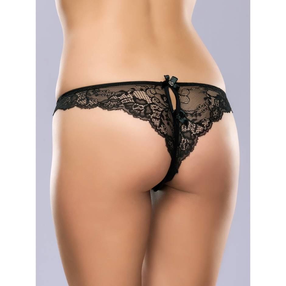 Lovehoney Love Me Lace Crotchless Brazilian Panty Black