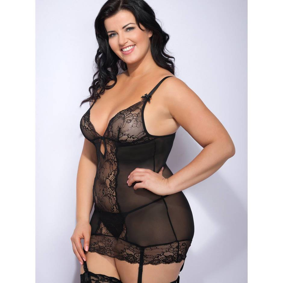 Lovehoney Plus Size Love Me Lace Chemise Set Black