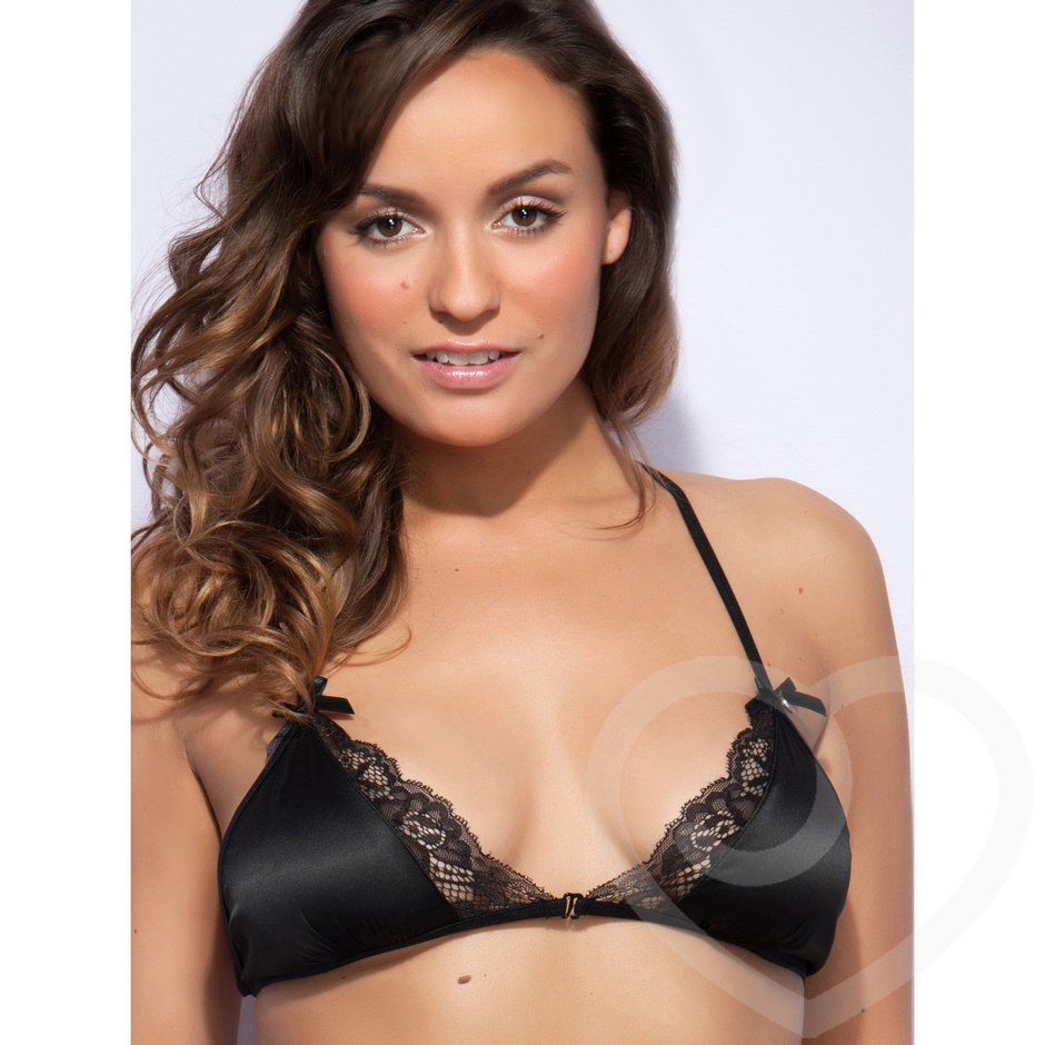 Lovehoney Spoil Me Satin Triangle Bra Black