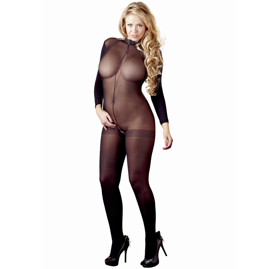 Mandy Mystery Plus Size Sheer Crotchless High Neck Catsuit