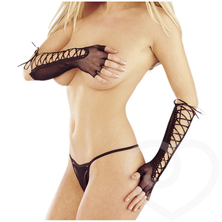 Classified Elbow Length Fishnet Gloves