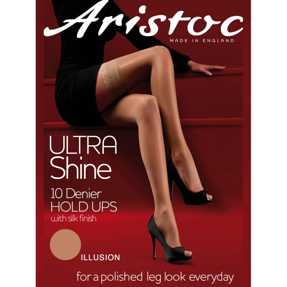 Aristoc Ultra Shine 10 Denier Illusion Lace Top Hold Ups