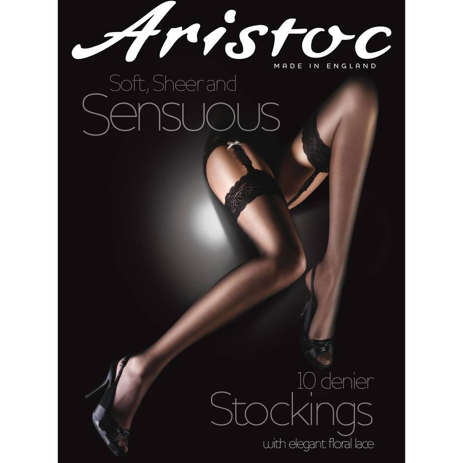 Aristoc Sheer Luxury 10 Denier Black Lace Top Stockings
