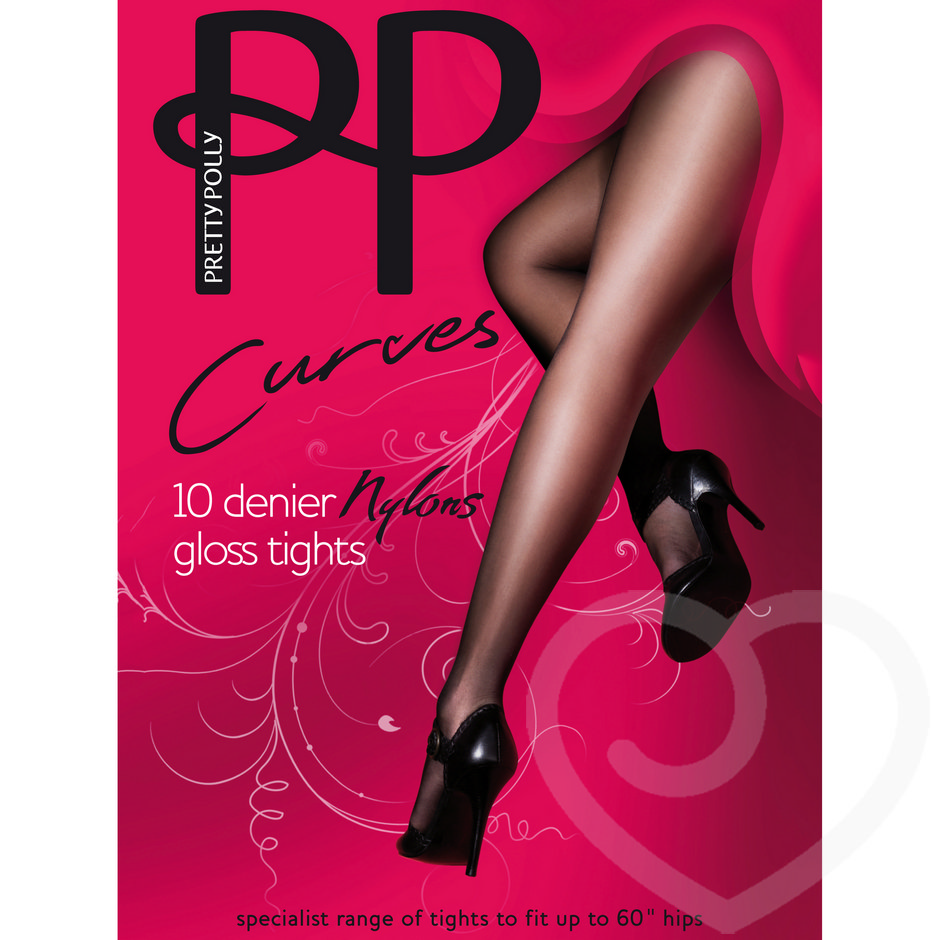 Pretty Polly Curves Plus Size 10 Denier Glossy Black Tights