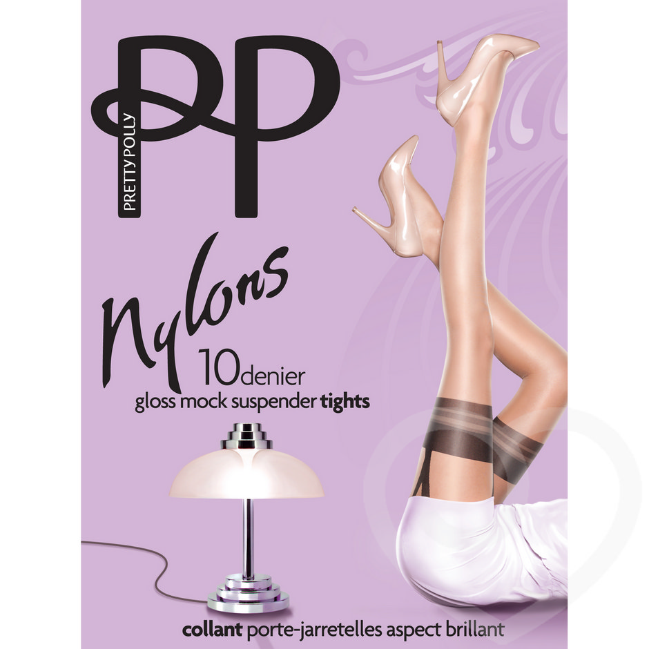 Pretty Polly Nylons 10 Denier Glossy Nude/Black Mock Suspender Tights