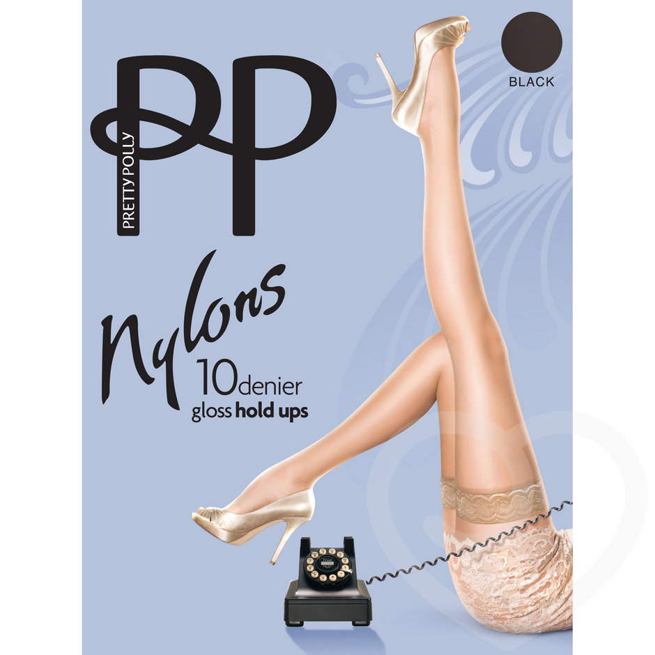 Pretty Polly Nylons 10 Denier Black Glossy Lace Top Hold Ups