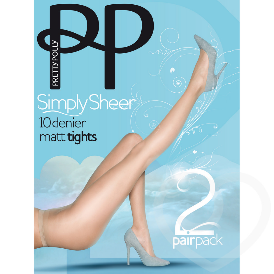 Pretty Polly Simply Sheer 10 Denier Sherry Matt Pantyhose (2 Pack)