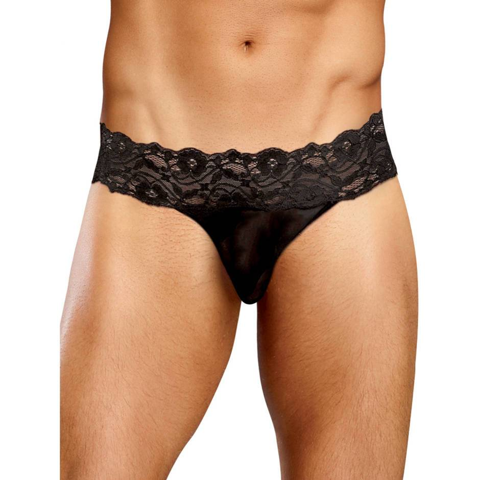 Male Power Scandal Lace Micro Thong with Pinch Back