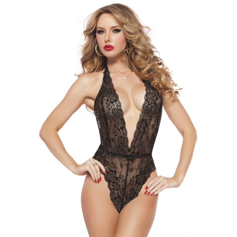Seven 'til Midnight Kiss of Envy Sheer Black Lace Body