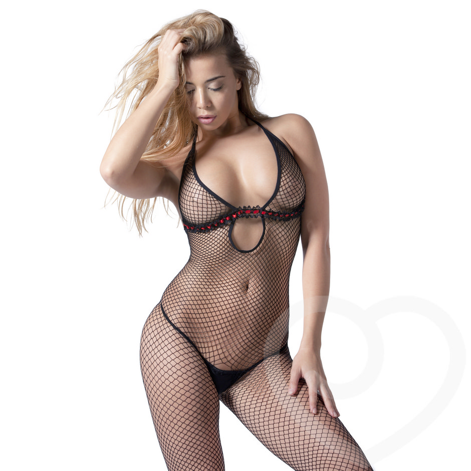 De Namour Crotchless Fishnet Bodystocking with Ribbon Detail