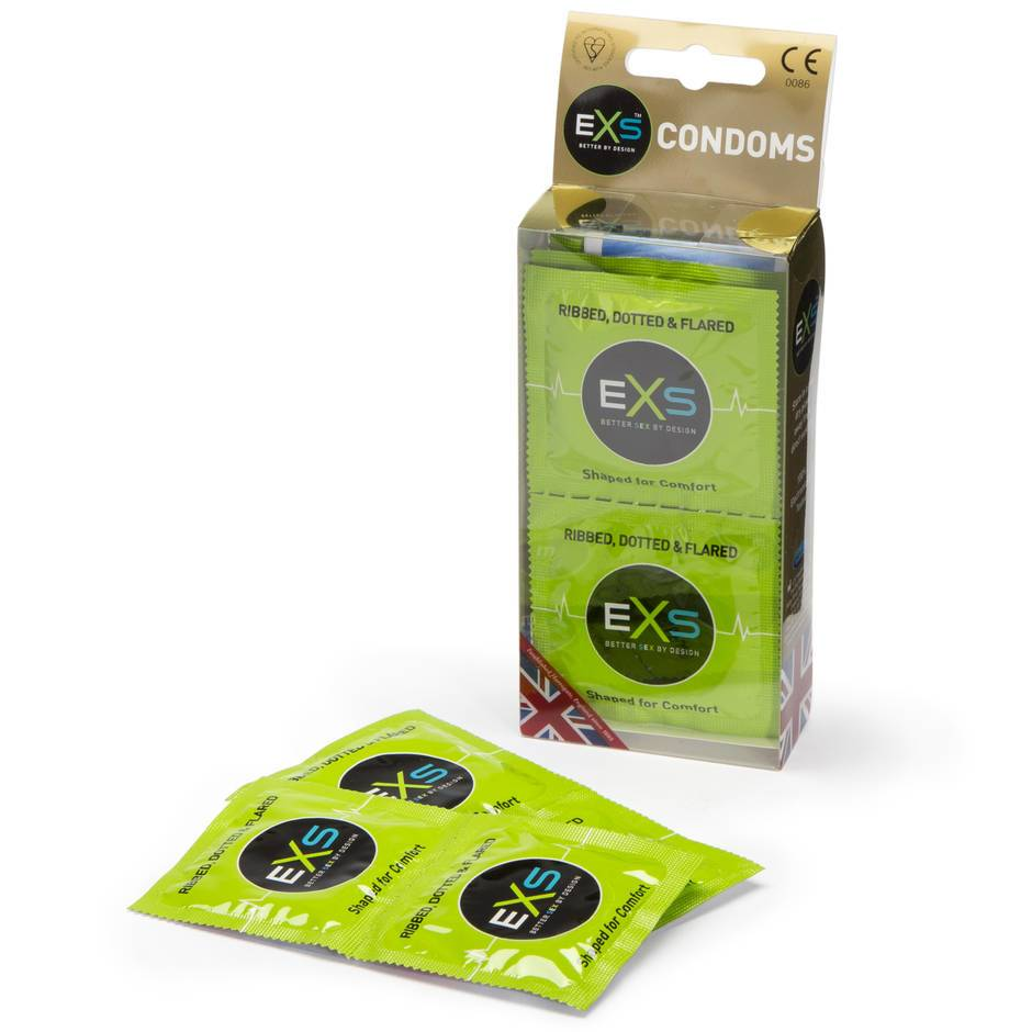 EXS Ribbed Dotted and Flared Condoms (12 Count)