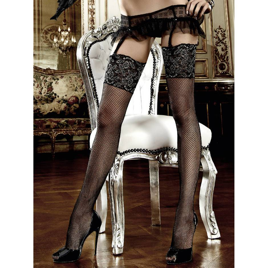 Baci Lingerie Wide Lace Top Embroidered Fishnet Stockings