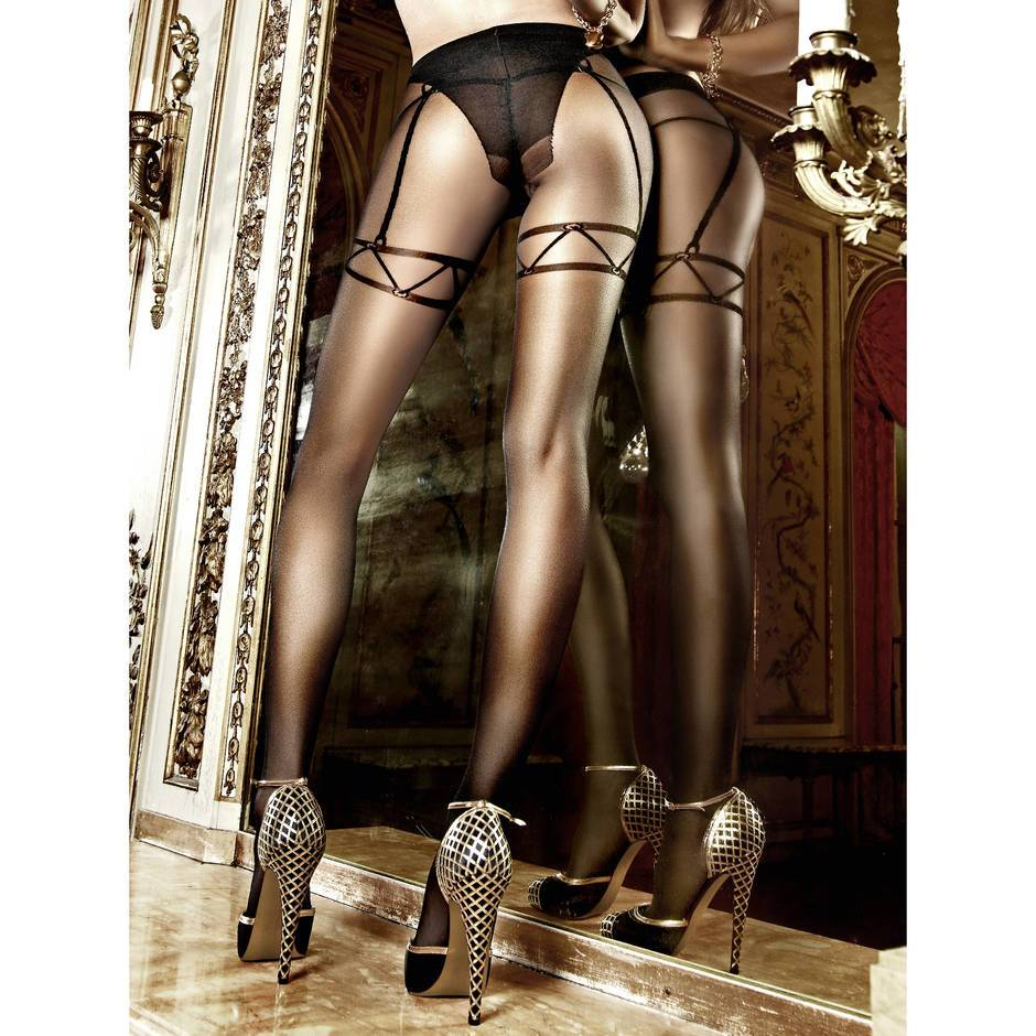 Baci Lingerie Sheer Mock Suspender Tights