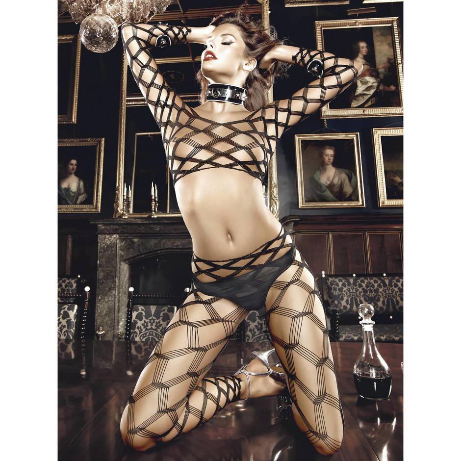 Baci Lingerie Geometric Fishnet Top and Footless Tights Set