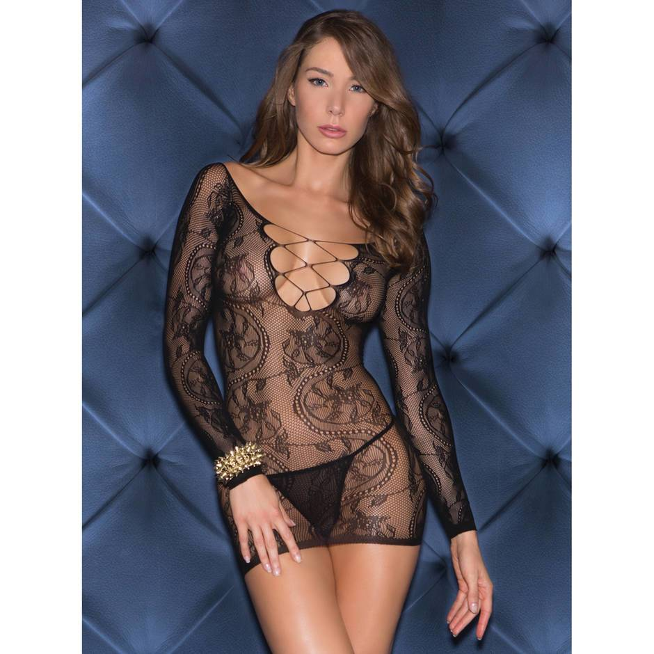 Glitter Vivid Imagination Long Sleeve Sheer Lace Mini Dress