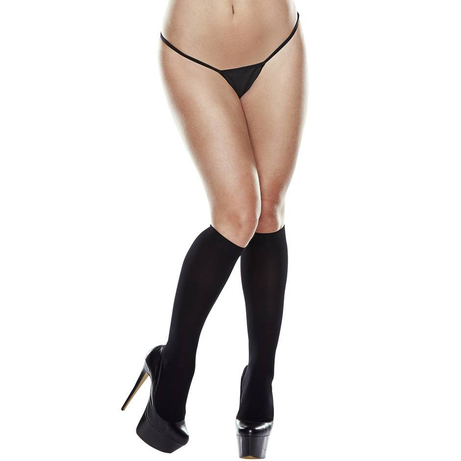 Baci Lingerie Sheer Black Knee High Socks