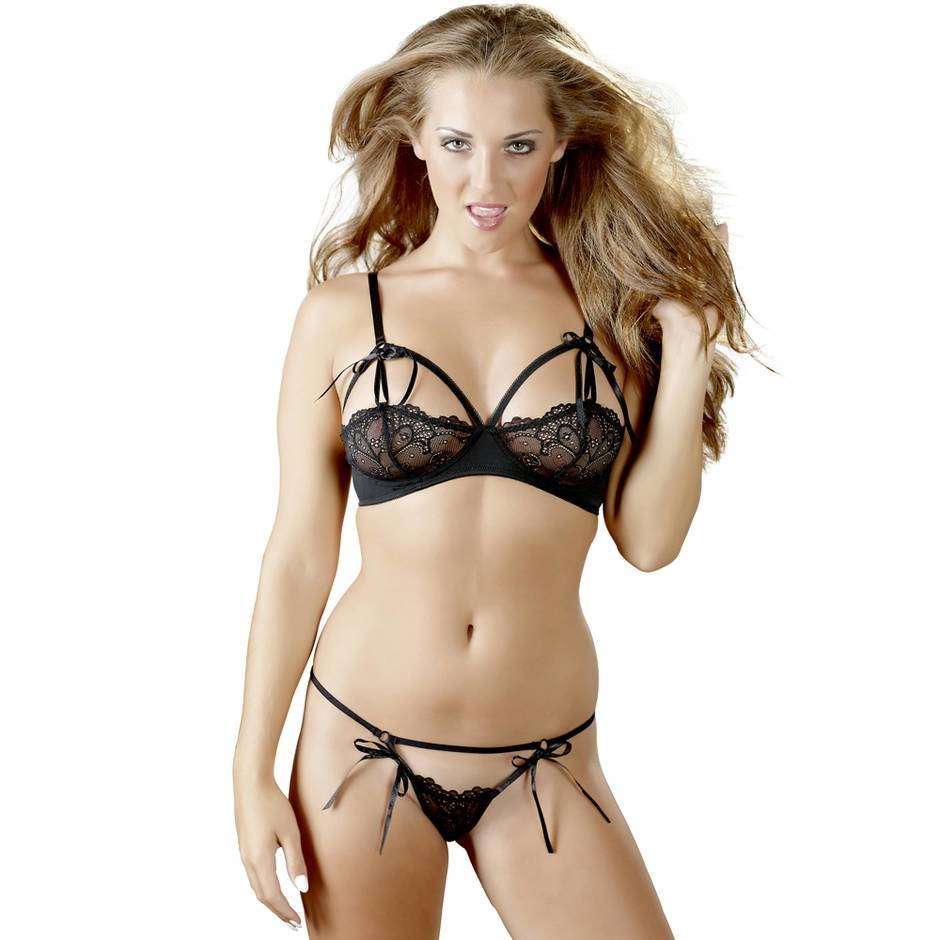 Cottelli Peek-a-Boo Lace Bra Set with Ribbon Ties