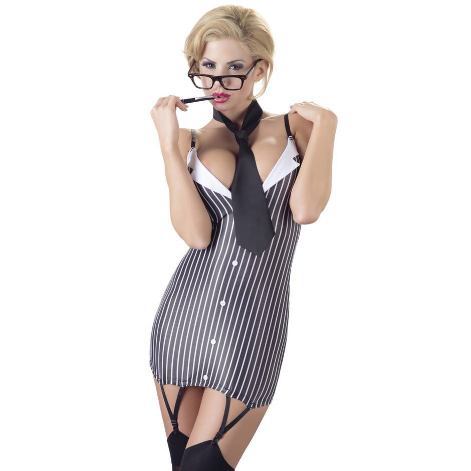 Cottelli Sexy Secretary Suspender Dress and Tie Set