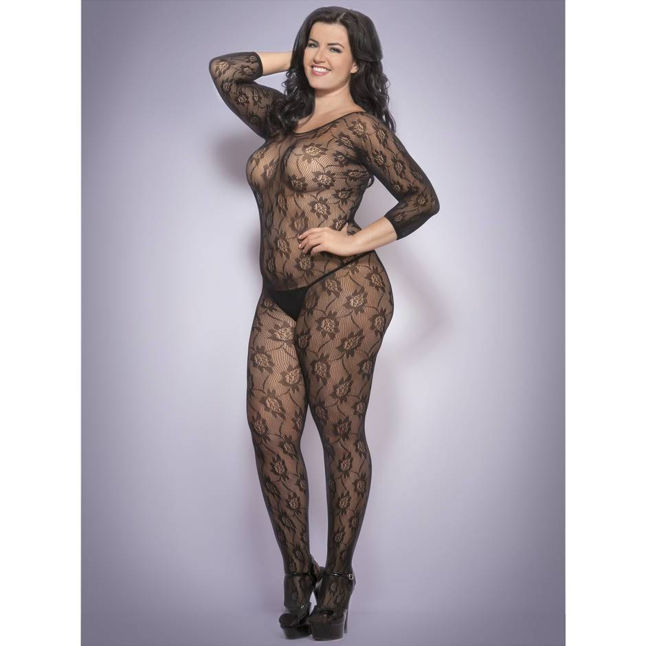 Lovehoney Plus Size Crotchless Black 3/4 Sleeve Lace Bodystocking