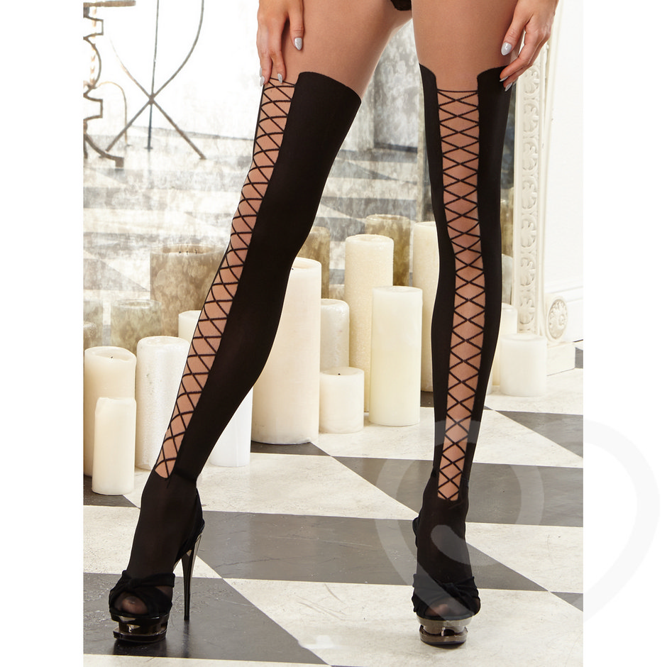 Dreamgirl Open Cup All-In-One Bodystocking with Lace Up Sides