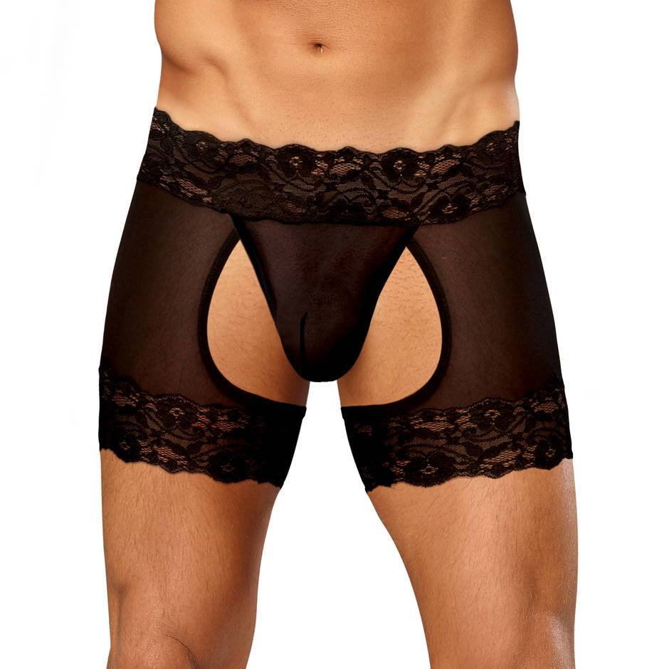 Male Power Scandal Lace Boxer Shorts with Open Back
