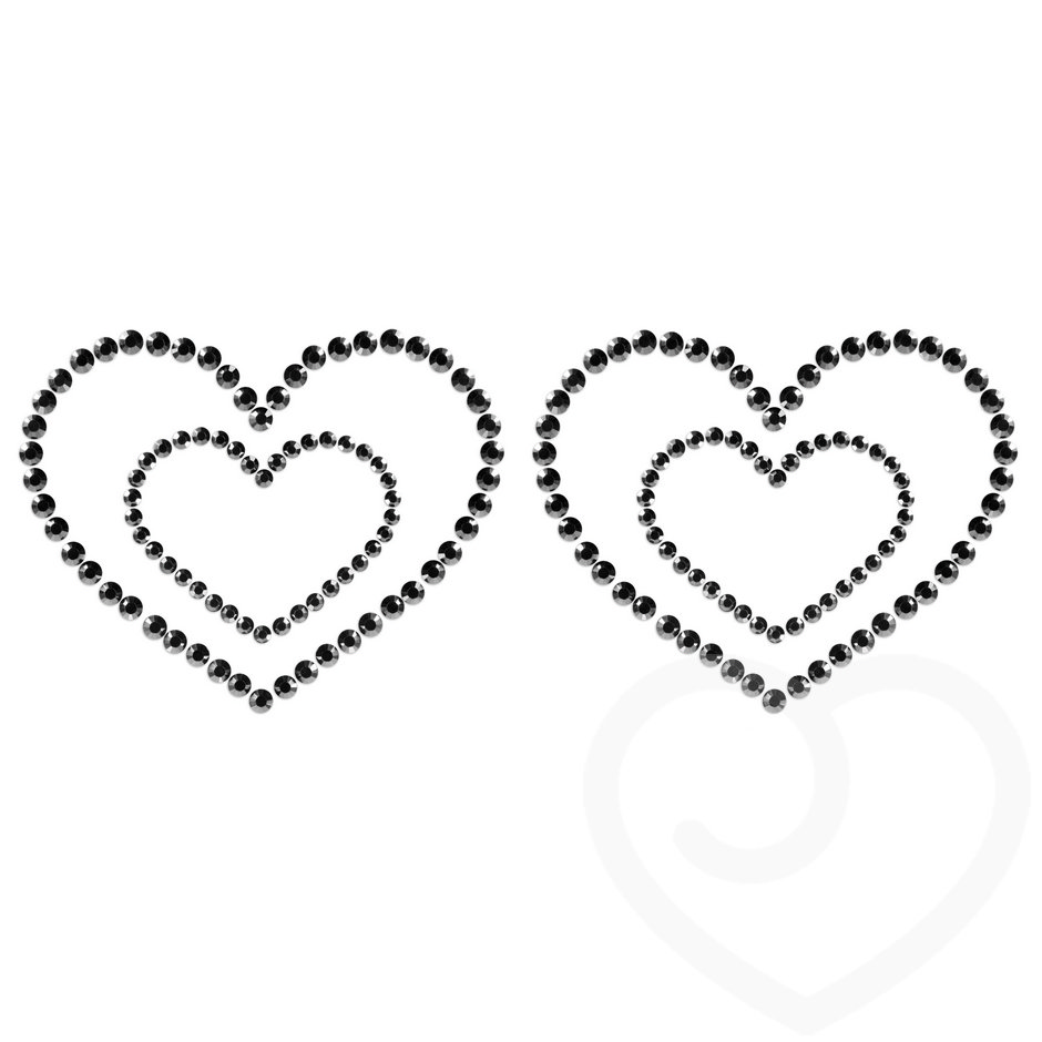 Bijoux Mimi Black Heart Shape Rhinestone Nipple Pasties