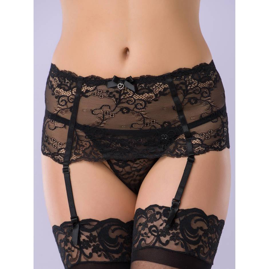 Porte-jarretelles large bande Love Me en dentelle noire, Lovehoney