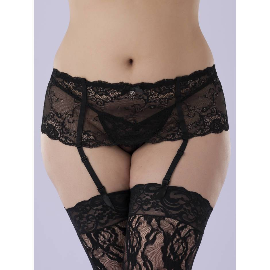 Lovehoney Plus Size Love Me Lace Deep Suspender Belt Black