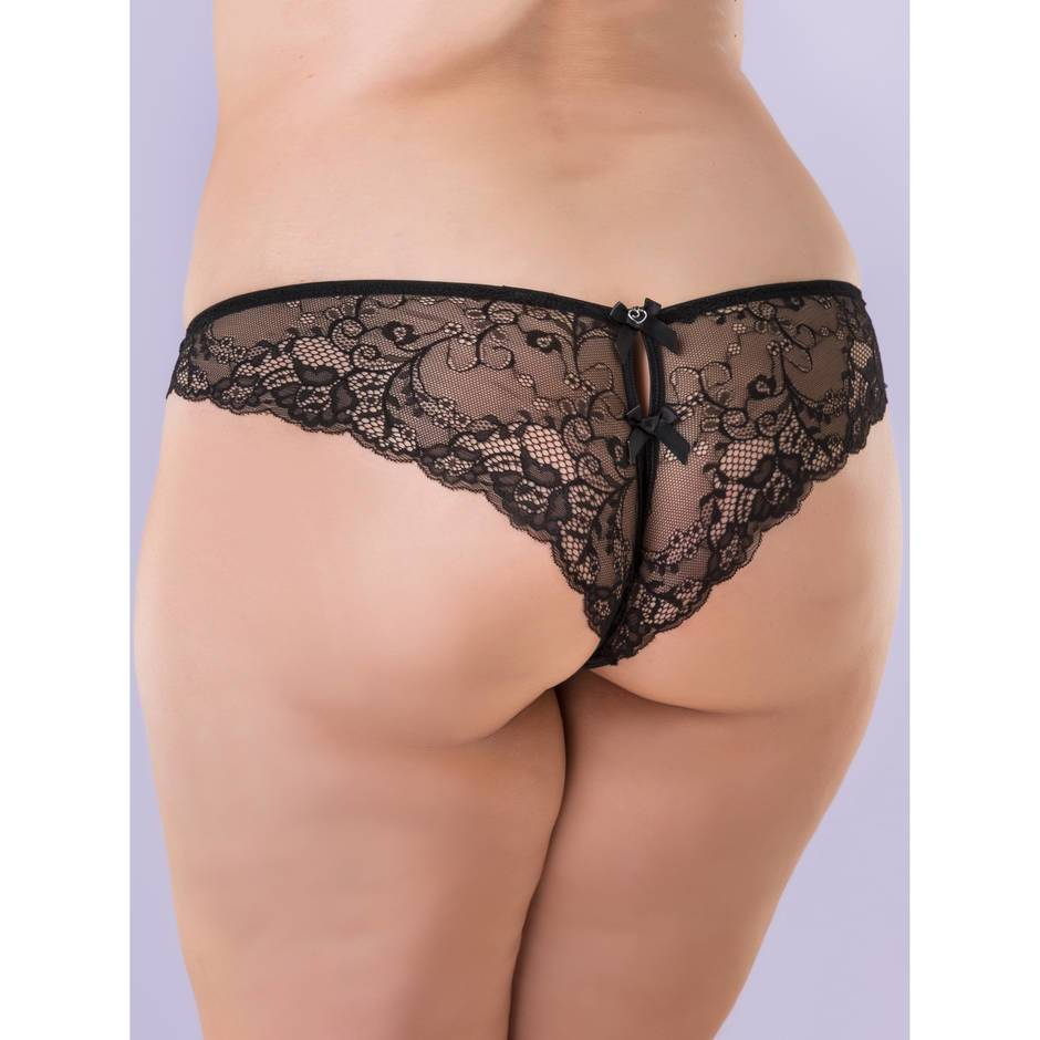 Lovehoney Plus Size Satin Crotchless Brazilian Knickers Black