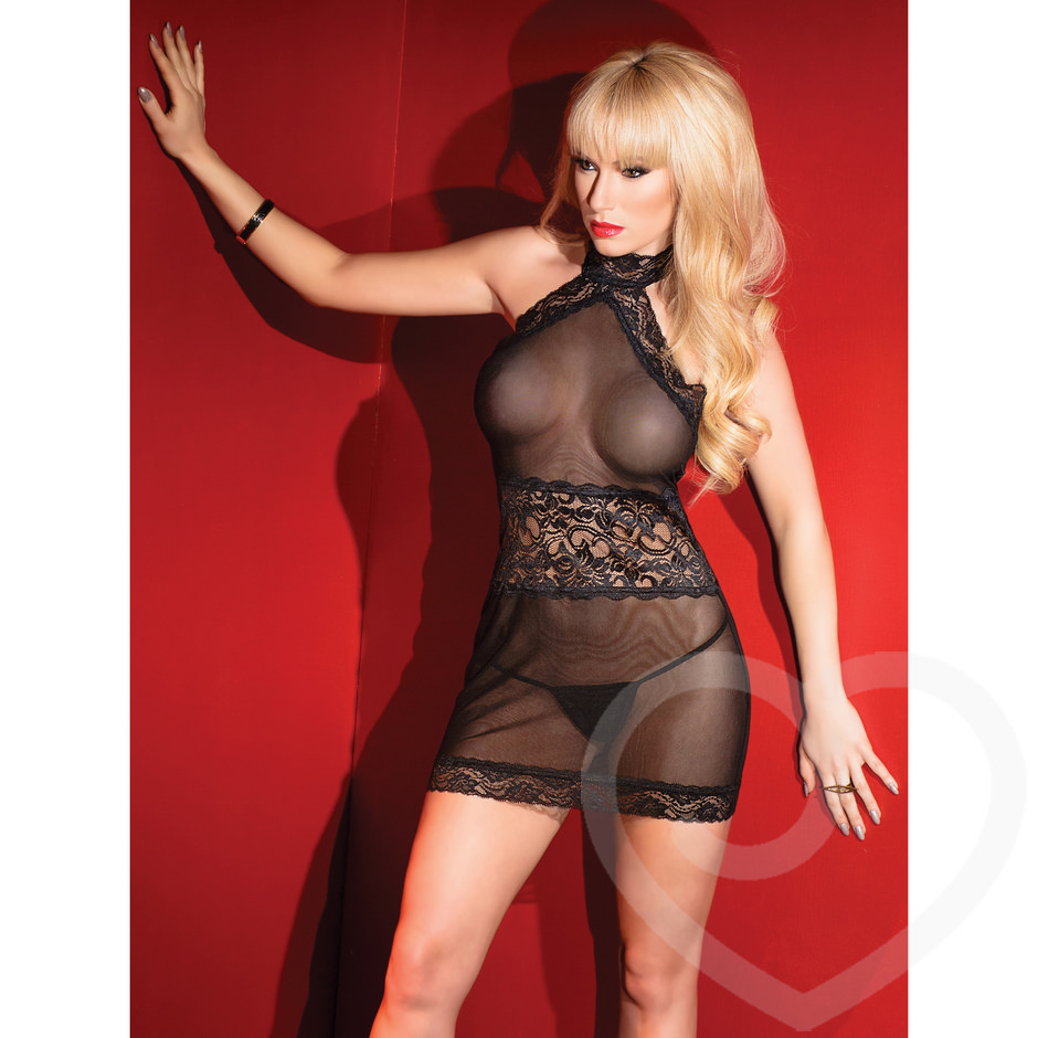 Coquette Kissable Sheer Lace Halter Neck Mini Dress