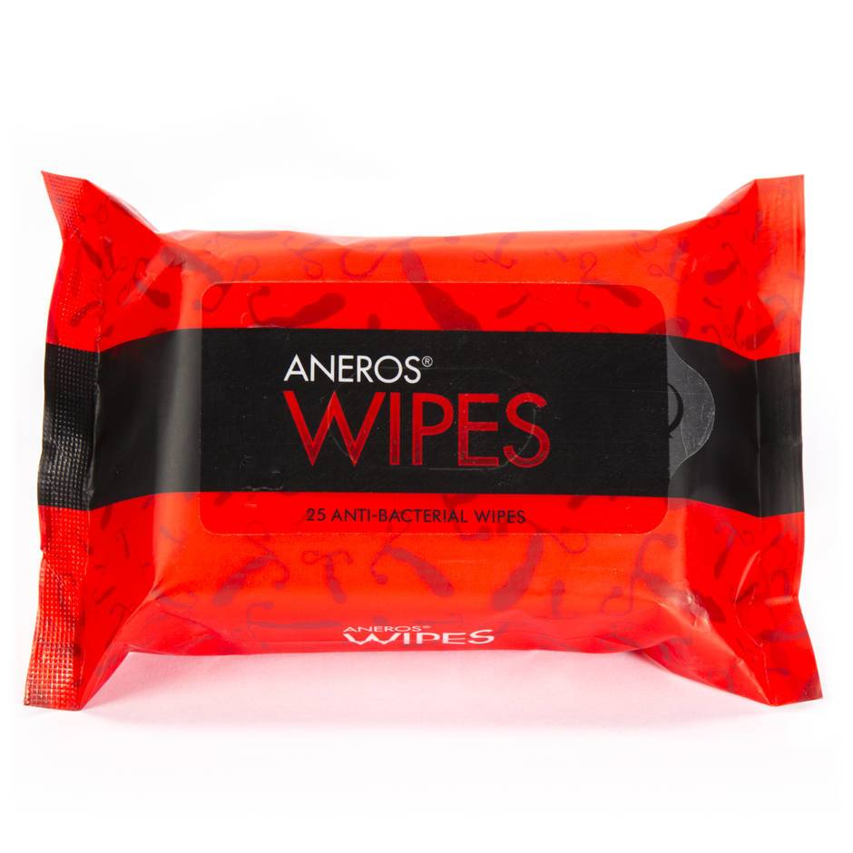 Aneros Antibacterial Sex Toy and Body Wipes (25 Count)